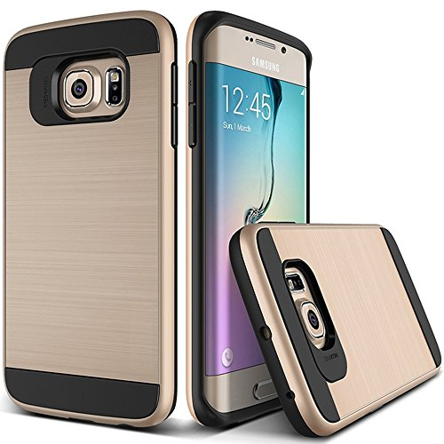 OnPrim Stylish Wiredrawing Surface Flexible Silicone Rubber And Hard PC Hybrid Double Layers Defend Armour Case For Samsung Galaxy S6 Edge Plus 5.5 Inth Gold