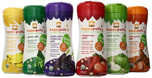 HAPPYBABY Organic Puffs Sampler (6 Count), 60g each, (Strawberry, Sweet Potato, Banana, Purple Carrot and Blueberry, Green Puffs, Apple)