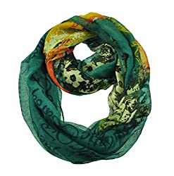 WishCart Womens Infinity Loop Circle Scarves ,Neck Wrap For Winter,Baroque Style-Green