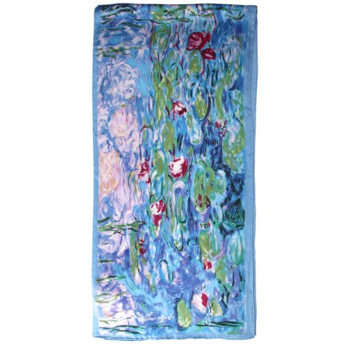 "Luxurious 100% Charmeuse Silk Art Collection Long Scarf Claude Monet's ""Water Lilies"""