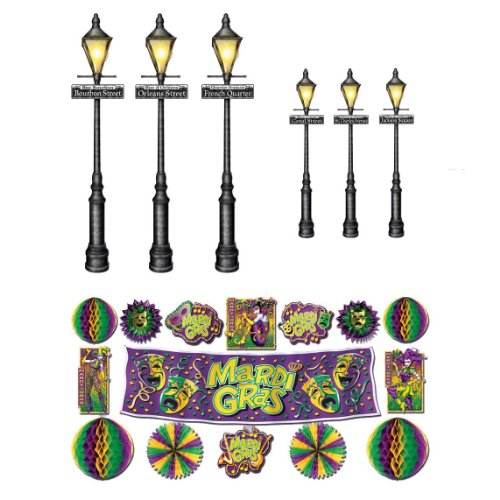 Beistle Company Mens Mardi Gras Decor & Street Lights Props Wall Add-Ons Black Medium