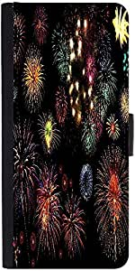 Snoogg Colorful Fireworks Graphic Snap On Hard Back Leather + Pc Flip Cover L...