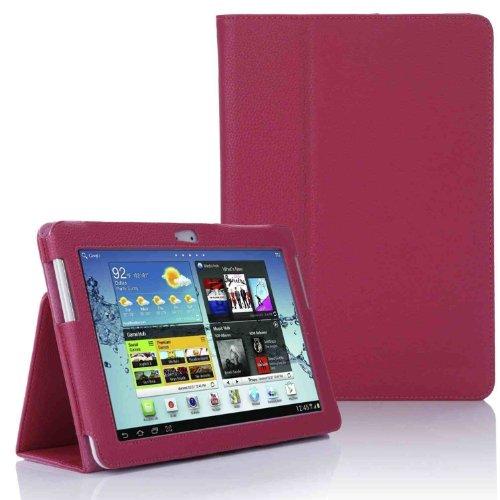 Samsung P5100 P5110 Tasche Hülle Schutzhülle Case Cover for Samsung Galaxy Tab 2 10.1 P5100 P5110 mit Ständer(PU Leder)++ Displayschutzfolie + Stylus (Rosa/Pink)