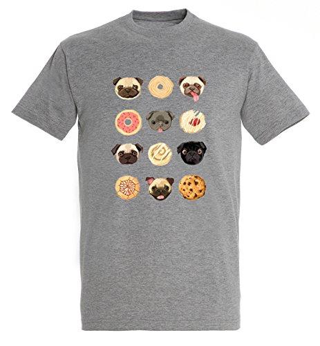 Donut Cookie Bagel Pug Dog Cute Smile Tongue Awesome Funny Men Herren Grey Melange T-shirt