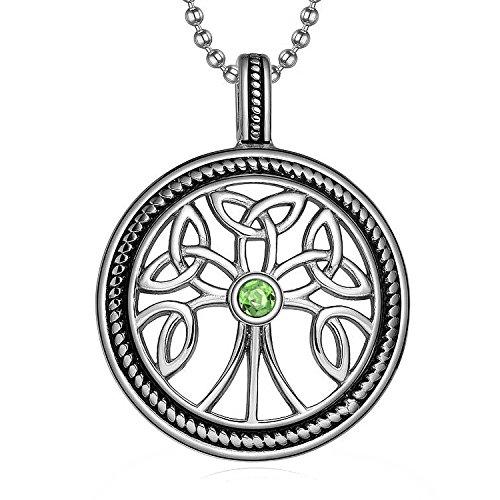 MENDINO da uomo religiosa celtica irlandese nodo Albero della vita Ciondolo in acciaio inossidabile (Argento) con catena da 22cm