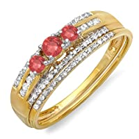 0.40 Carat (ctw) 18k Yellow Gold Round Red Ruby And White Diamond 3 Stone Bridal Ring Engagement Set from DazzlingRock