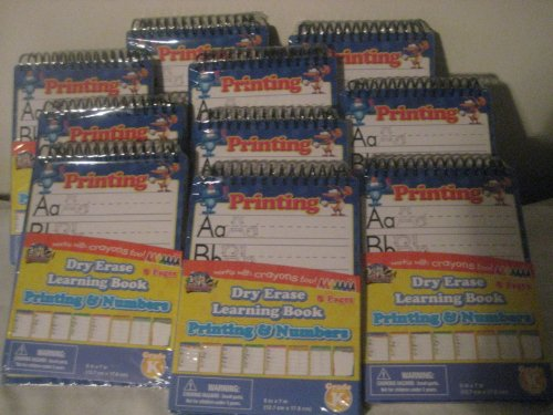 Dry Erase Learning Book Printing and Numbers (Pack of 10)