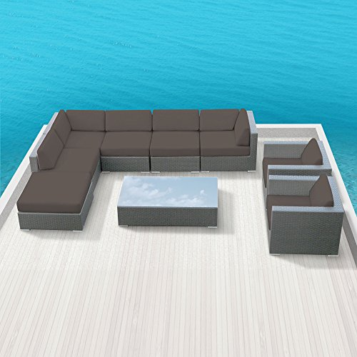 Luxxella Outdoor Sofa Set Duxbury 9 Pcs Modern Dark Grey Furniture Modern All Weather Wicker Sofa Set