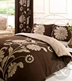 LUXURY REVERSIBLE BEDDING Poly Cotton Duvet Cover Set Bed Quilt Cover Chocolate ( brown cream beige ) King size Duvet Cover ( kingsize shabby chic )