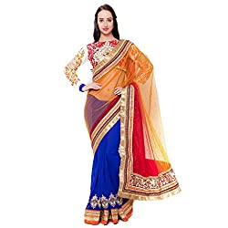 Suchi Fashion Blue Net And Georgette Border Worked Wedding Saree