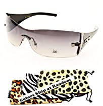 D08-dp Dg Eyewear Turbo Shield Rimless Womens Sunglasses (silver/black-smoked +DG pouch, uv400)