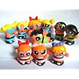 """Powerpuff Girls 10 Piece Figure Playset Featuring 10 Power Puff 1"""" Figures Including Blossom, Bubbles, and Buttercup"""
