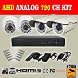 MERSK New AHD 4CH 720P Security DVR Video Surveillance System, Supports Continuous Recording with 4 HD Weatherproof 720P Superior 100ft Night Vision Indoor/Outdoor AHD High Quality Security Camera (Analog HD Technology, HDMI, Peer to Peer, 1280x720 Pixels, All-in-One Hybrid CCTV Recorder, QR Code Scan Easy Remote Setup)