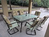 Hot Sale 7pc St. Thomas Cast Aluminum Cushioned Patio Dining Set - Swivel Rocking Chairs (With FREE COVER)