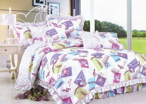 High Quality New 3Pcs 100% Cotton Xl Extra Long Music Girl Boy Twin Size Dorm Bed Sheet Pillowcase Set front-500109
