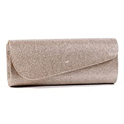 Damara Womens Oblique Flap Glitter Clutch Handbags,champagne