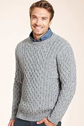 The Heritage Collection Lambswool Blend Aran Chunky Knit Jumper