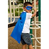 Abracadabrazoo Set of 10 Superhero Deluxe Party Favor Kit Kids Blue Capes Blue Satin Masks Bat Shapes Bulk Lot Whole