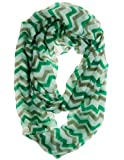 Cotton Cantina Soft Chevron Sheer Infinity Scarf (Green/Grey/White)