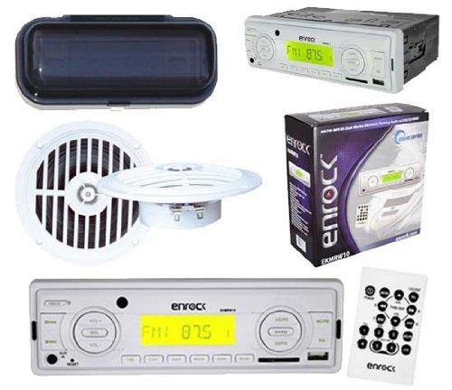 "Marine Indash Usb Mp3 Media Radio W/Remote 2X 5.25"" Speakers W/Splashproof Cover"