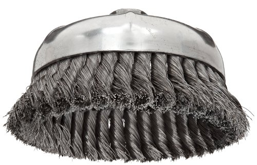 """Weiler Wire Cup Brush, Threaded Hole, Steel, Partial Twist Knotted, Single Row, 6"""" Diameter, 0.014"""" Wire Diameter, 5/8""""-11 Arbor, 1-3/8"""" Bristle Length, 6600 rpm (Pack of 1)"""