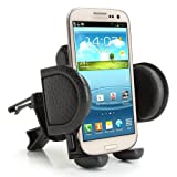 USA Gear Air Vent Rotating Car Mount Holder Cradle Adjustable Arms & Secure Clips for Phones & Compact GPS Units- Holds Apple iPhone 6 , 5 / Samsung Galaxy S5 , S4 / Motorola Moto G , X+1 / Nokia Lumia 520 , 630 / Sony Xpera Z3 , E3 / HTC One M8 & More
