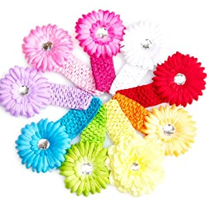 Ema Jane - 8 Spring Bling Gerber Daisy Flower Hair Clips with Soft Crochet Headbands (16 Pack, 8 Flowers + 8 Headbands) - Newborns, Baby, Girls, Toddlers, Youth
