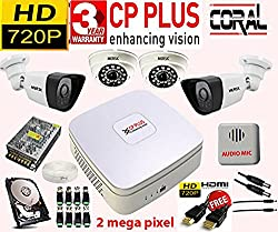 4CH CP-PLUS-CORAL DVR AND 2HD 2MEGAPIXEL 36LED MERSK DOME CAMERA+2HD 2MEGAPIXEL 36LED MERSK BULLET CAMERA+1POWER SUPPLY,+500GB HARD DISK,+8BNC + AUDIO MIC HD QUALITY +FREE HDMI CABLE ALL REQUIRED CONNECTORS NOTE:: (CAMERAS ARE OF MERSK BRAND MADE IN TAIWAN NOT OF CPPLUS BRAND)