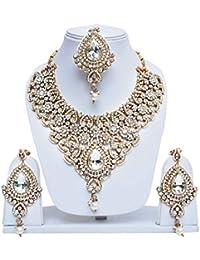 White Patwa Necklace Set With Maang Tika Rose Polish