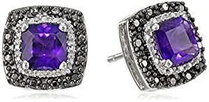 Sterling Silver Amethyst Cushion with Black and White Diamond Accents Stud Earrings