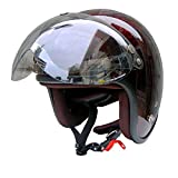 HANDLE KING 72JAM ジェットヘルメット&シールドセット [RASH/レッド/ブラウン (フリーサイズ:57-60cm)+開閉式アビエーションシールド (Fミラーパーシモン)]