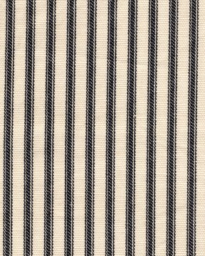 French Country Black Ticking Stripe 84 Inch Long Cotton Shower Curtain Unlined