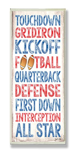 The Kids Room by Stupell Touchdown Football Typography Rectangle Wall Plaque