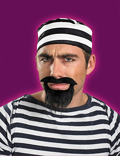 Prisoner Beard And Moustache Halloween Costume - 1 Size