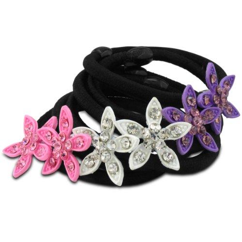 Set of Six Flower Hair Ties, Pink, White and Purple Rhinestones