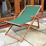 Trueshopping Rimini Traditional Folding Deck Chair With Balau Hardwood Frame And Armrests Garden / Patio Furniture 690mm x 1000mm x 840mm
