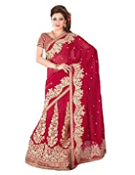 Deep Red Georgette Thread Worked Saree In Deep Red Pallu & Saree Border-SR6716