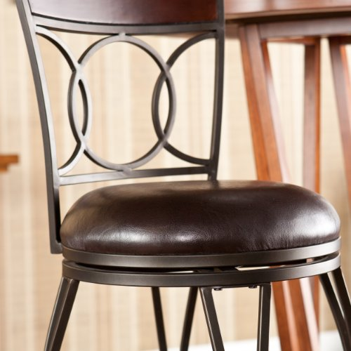 SEI Augusta Swivel Bar Stool, Brown