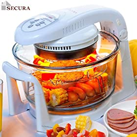 Secura Digital Halogen Infrared Turbo Convection Countertop Oven, Deluxe Package w/Extender Ring;Tong;Cook Racks 798DH