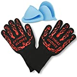 CETHIAS Grilling Cooking BBQ Gloves 932°F High Temperature Resistant Oven Mitts with Cotton Lining and Silicone(set of 2) 1 Pair Black (2, Black)
