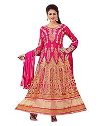 Maruti Suit Women's Faux Georgette Suit Material (16001, Pink, Free Size)