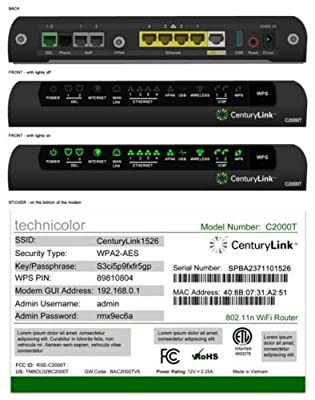 CenturyLink Technicolor C2000T Wireless 802.11N ADSL2+ VDSL Modem Router Combo