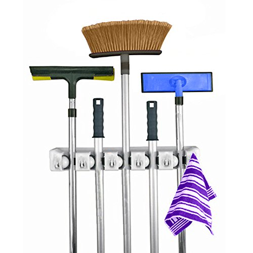 Tri-polar Kitchen Tools Mop Broom Holder or Sports Equipment Wall Mounted Organizer Garage Brush Storage Hanger Rack Tool for Home - Holds up to 11 Tools,5 Position 6 Hook (Magic Holder Position Wall compare prices)