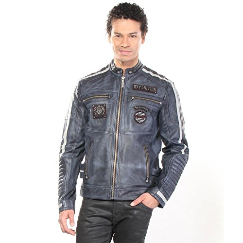 Affliction Men's American Rebel Leather Moto Jacket Pacific Blue Outerwear MD