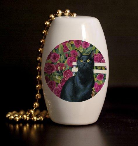 Rose Garden Cat Porcelain Fan / Light Pull