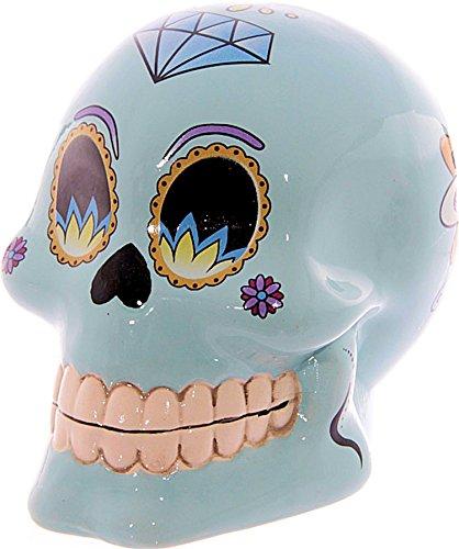 Salvadanaio a forma di salvadanaio a forma alla moda /~Skull~/ teschio/giorno morti~~colore: azzurro, 10 cm