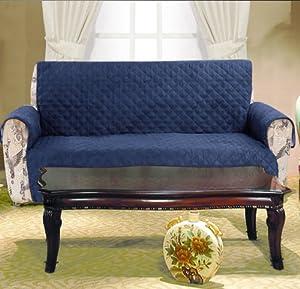 Amazoncom navy blue microfiber sofa protector home for Navy blue microfiber sectional sofa