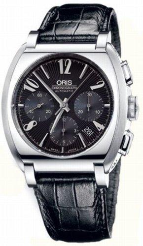 Oris Frank Sinatra Stainless Steel Black Calf Skin Mens Chronograph Automatic Watch 676-7574-4064LS