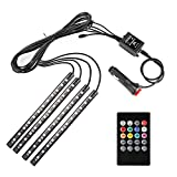 Minger Car LED Strip Light,4pcs DC 12V Multi-color Car Interior Music Light LED Underdash Lighting Kit with Sound Active Function and Wireless Remote Control, Included Car Charger