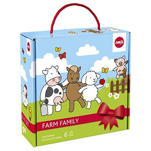 Emsa-509096-6-teiliges-Kindergeschirr-Geschenk-Set-Geschenkkartonage-Farmmotiv-Bunt-Farm-Family